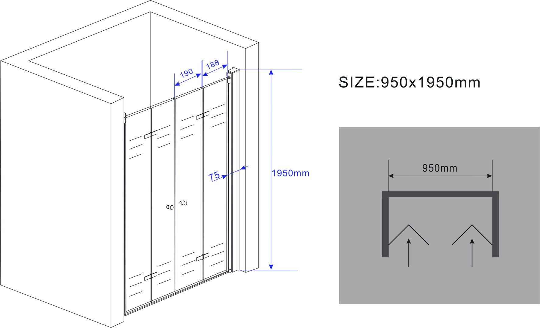 75-140-x-195-cm-faltbare-Nischentuer-Duschwand-Duschtuer-Duschabtrennung-Dusche