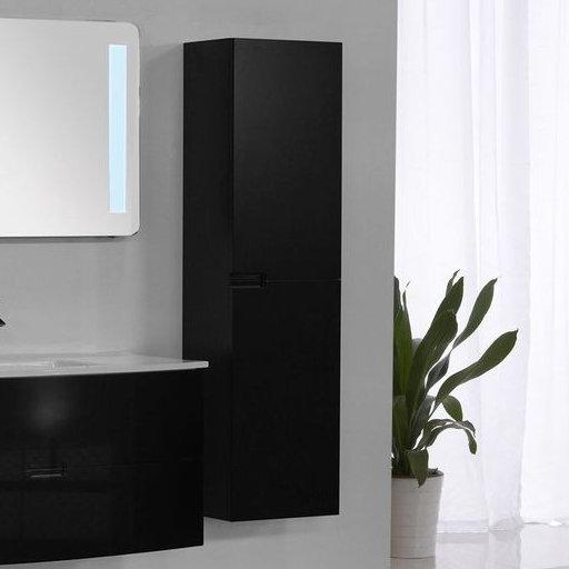 Badmöbel Seitenschrank ARCUA in schwarz