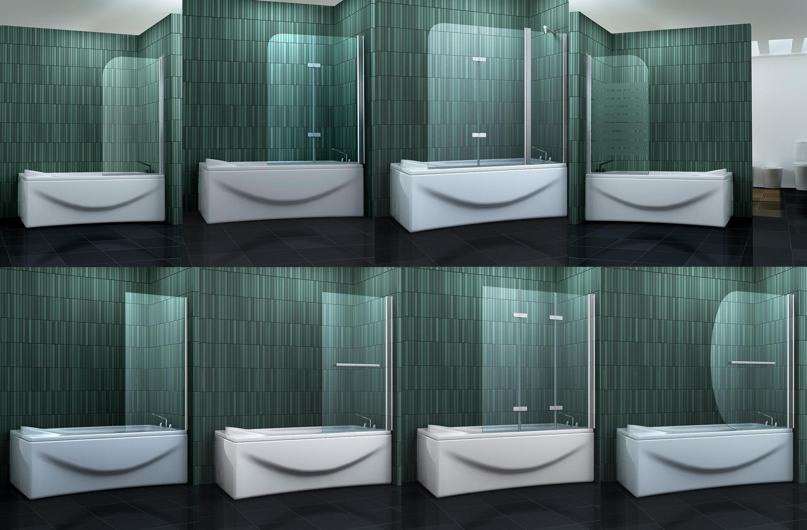 Duschabtrennung badewannenaufsatz badewannen faltwand dusche duschtrennwand ebay - Schwenkbare duschwand ...