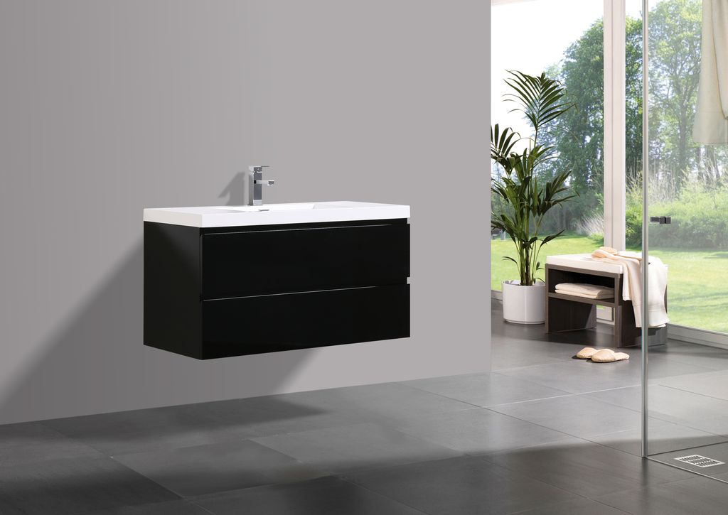 Badmöbel Unterschrank FLAT 100 (hochglanz-schwarz)