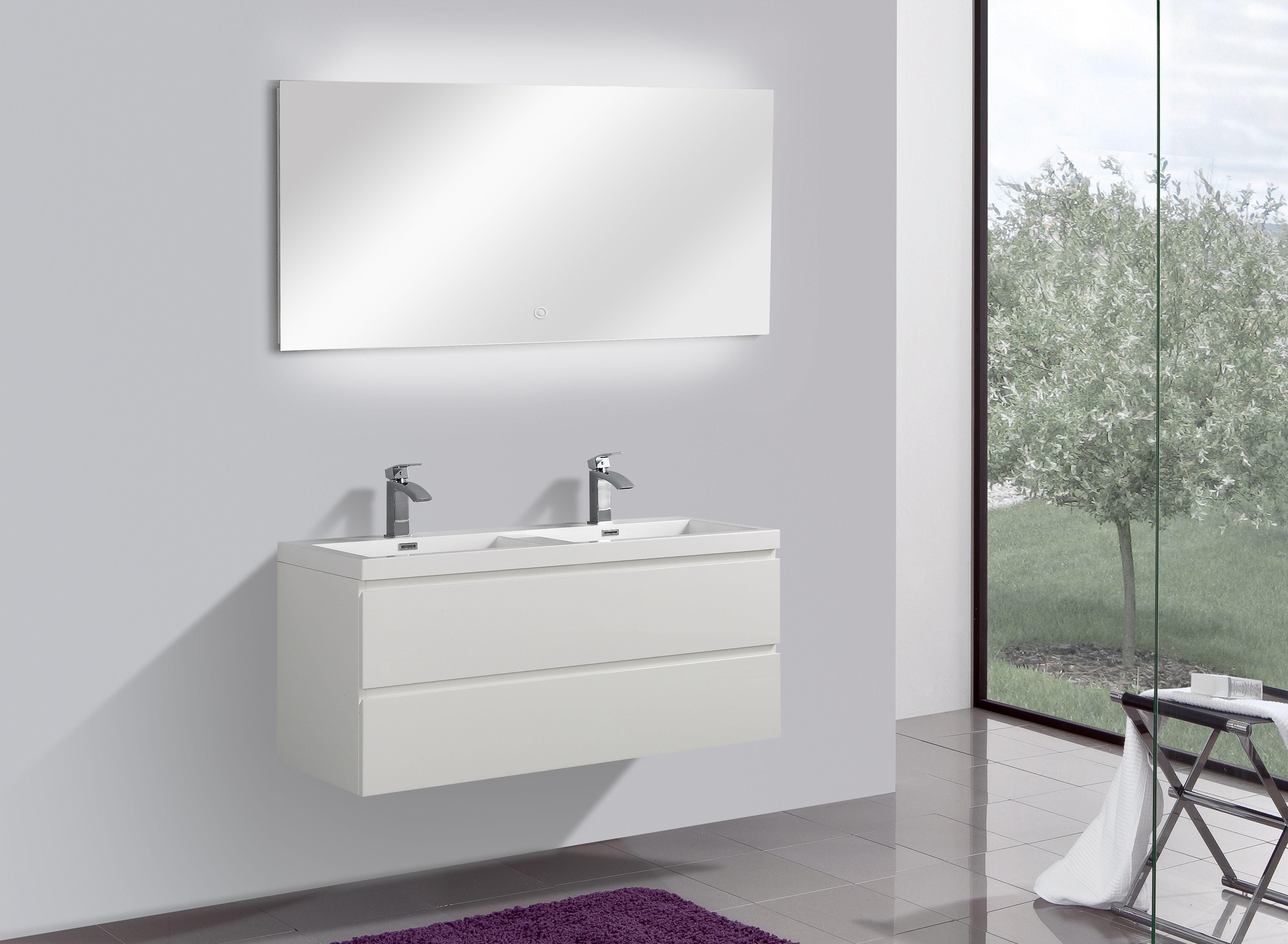 Badmöbel Unterschrank Flat 120 inkl. Doppelwaschtisch (hochglanz-weiß)