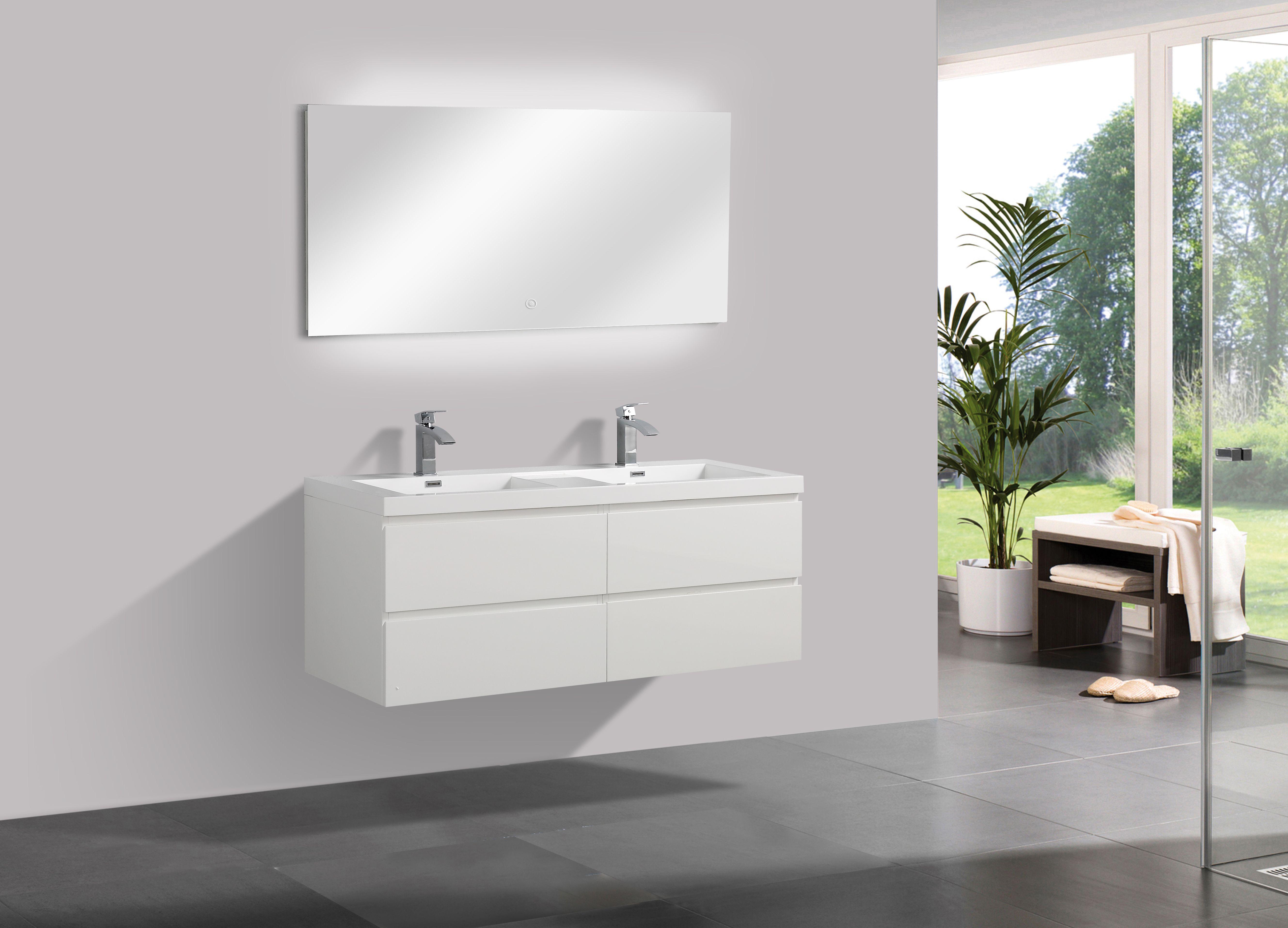 Badmöbel Unterschrank Flat 140 inkl. Doppelwaschtisch (hochglanz-weiß)