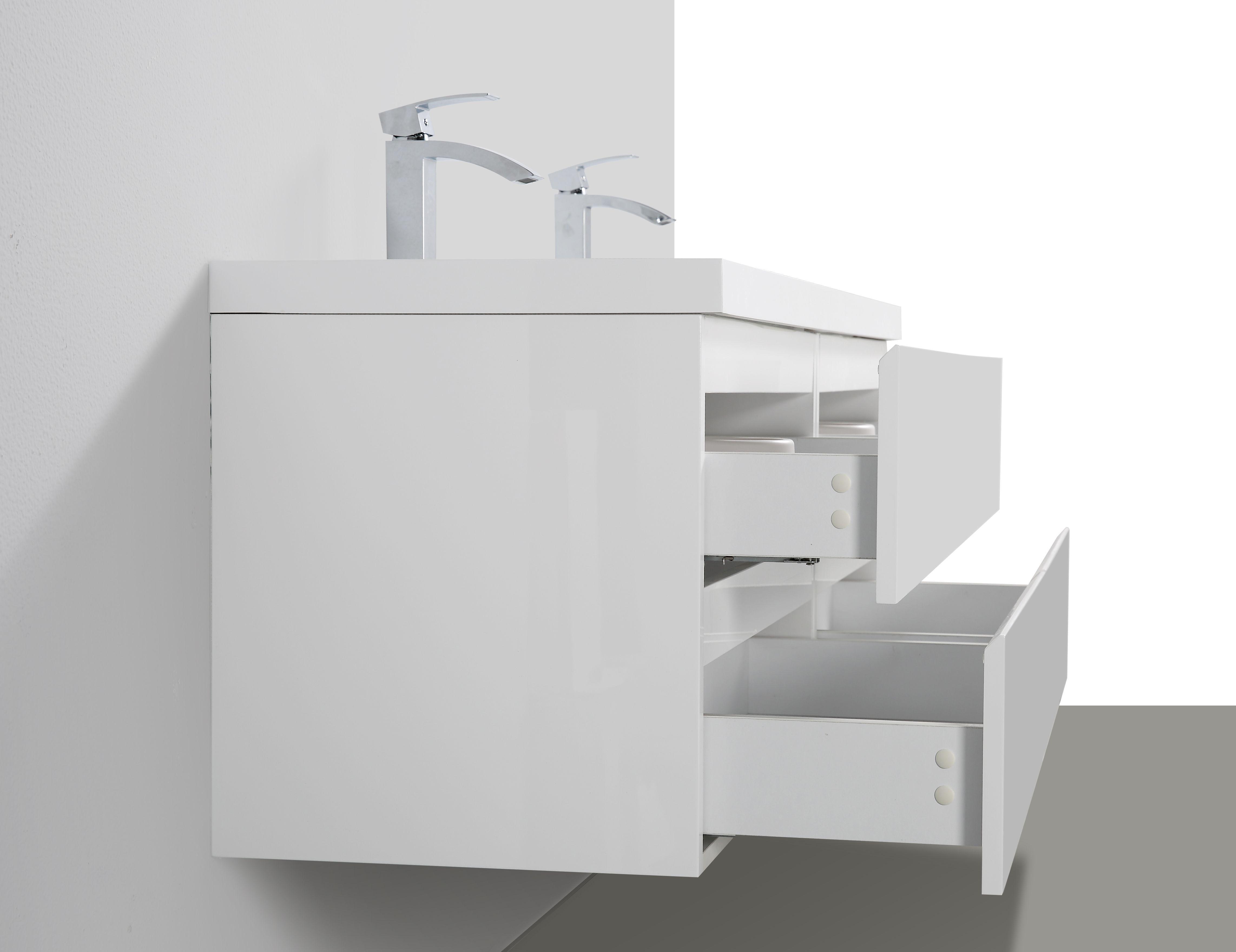 Badmöbel Unterschrank Flat 160 inkl. Doppelwaschtisch (hochglanz-weiß)