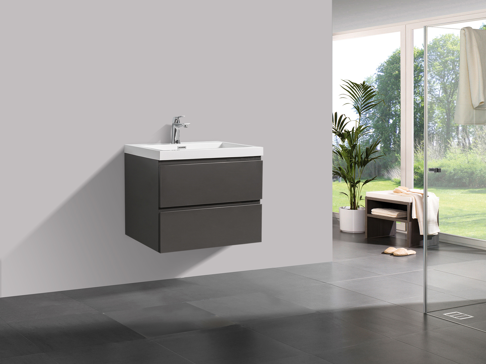 badm bel unterschrank flat 80 hochglanz grau. Black Bedroom Furniture Sets. Home Design Ideas