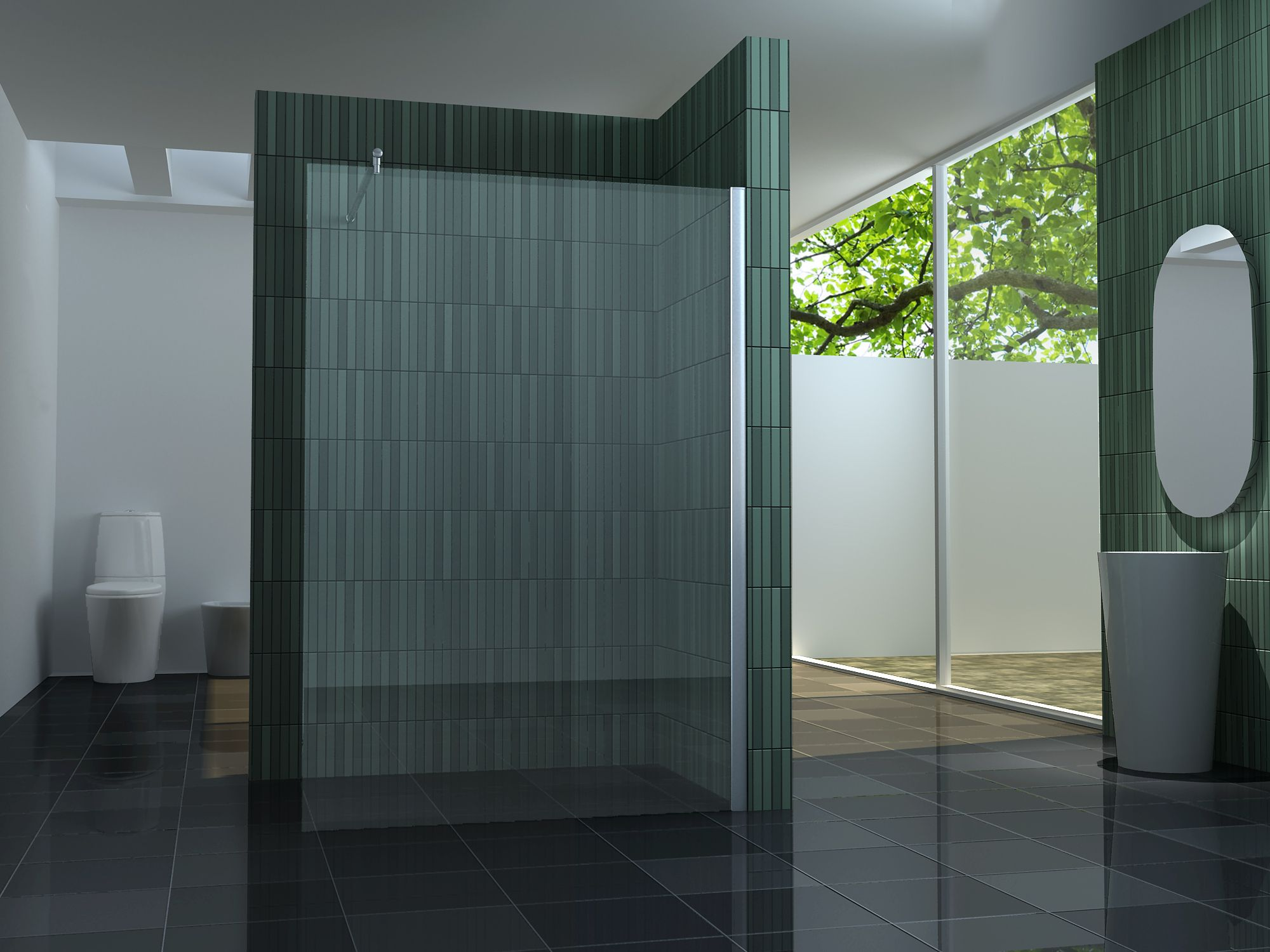 10 mm Duschtrennwand FREE 150 x 200 cm