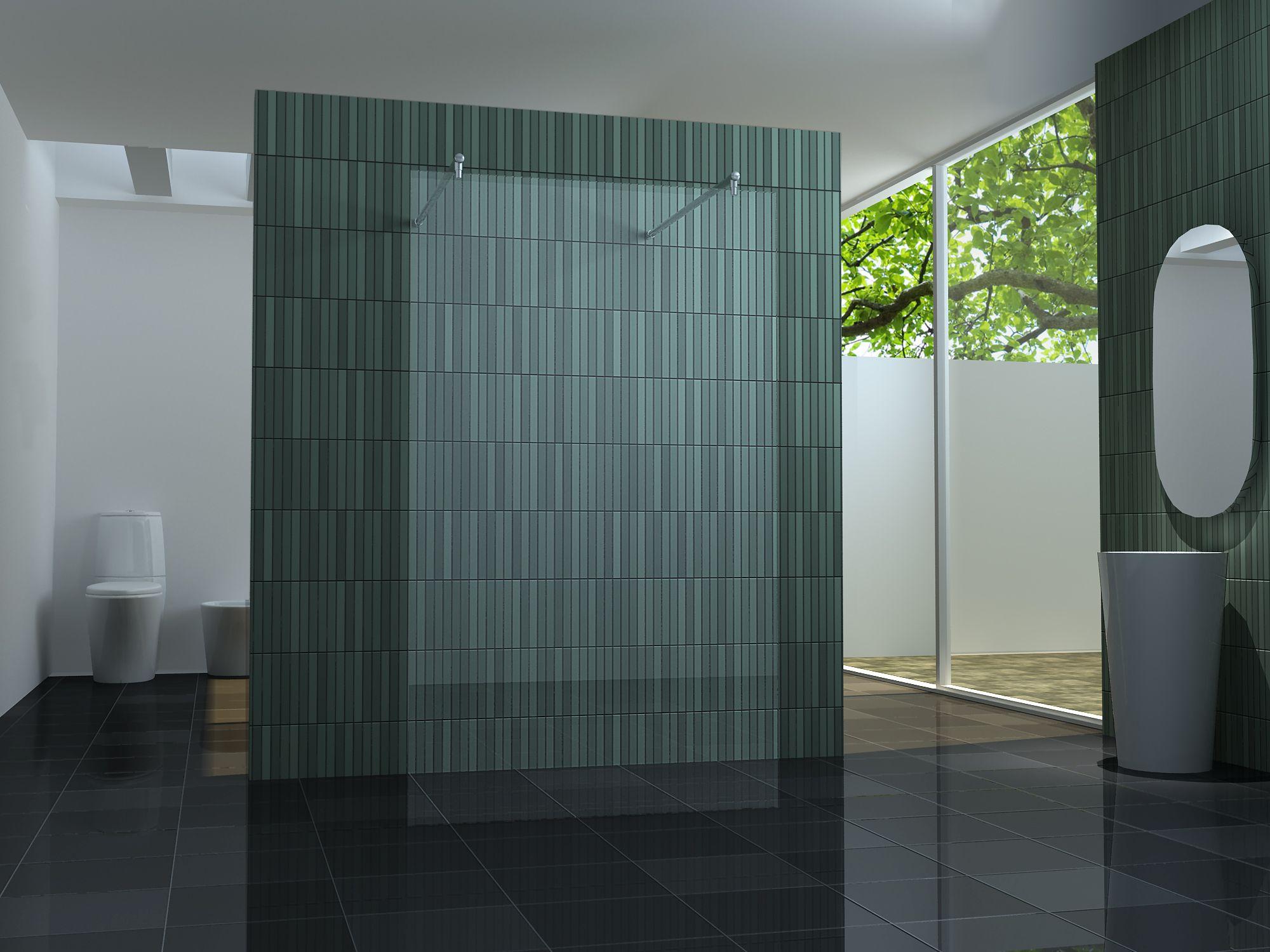 freistehende 10 mm Duschtrennwand FREE-H 120 x 200 cm