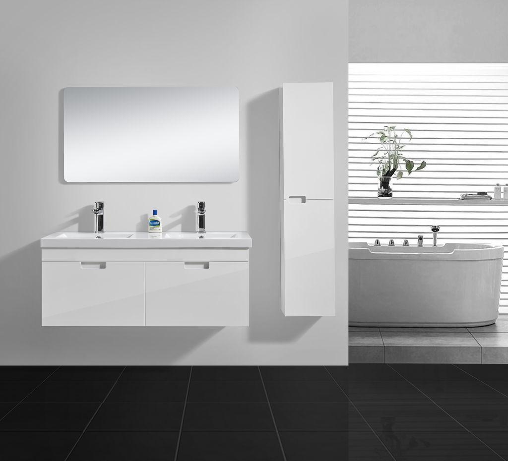 Badmöbel Set Bright 120 in hochglanz-weiß