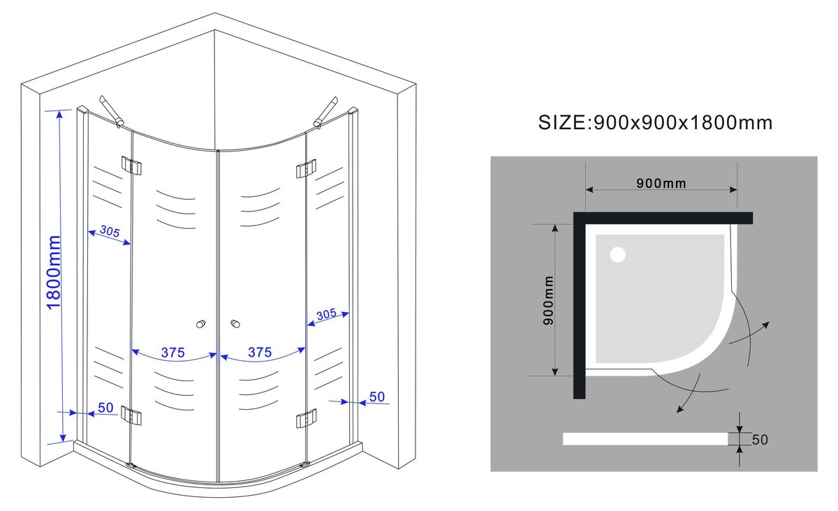 Extremely Duschkabine CLARABO 90 x 90 x 180 cm (Viertelkreis) ohne Duschtasse HV65