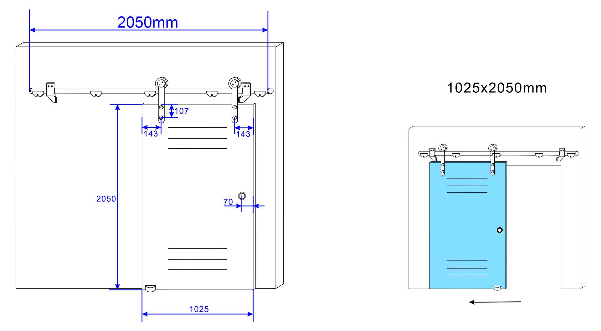 Glas-Schiebetuer-205cm-in-Klarglas-Milchglas-o-gestreift-Raumteiler-Raum-Trenner