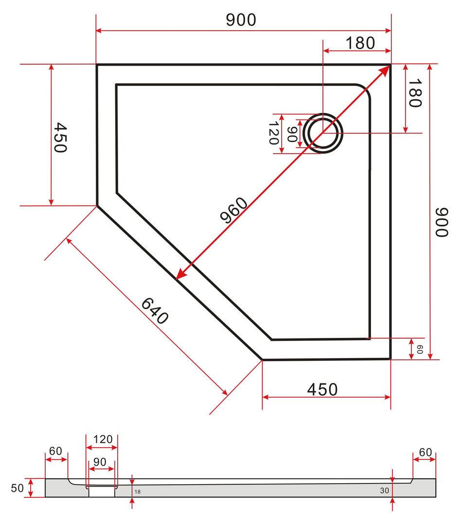 Erstaunlich Fünfeck-Duschkabine FIVE 90 x 90 x 200 cm inkl. Duschtasse OQ27