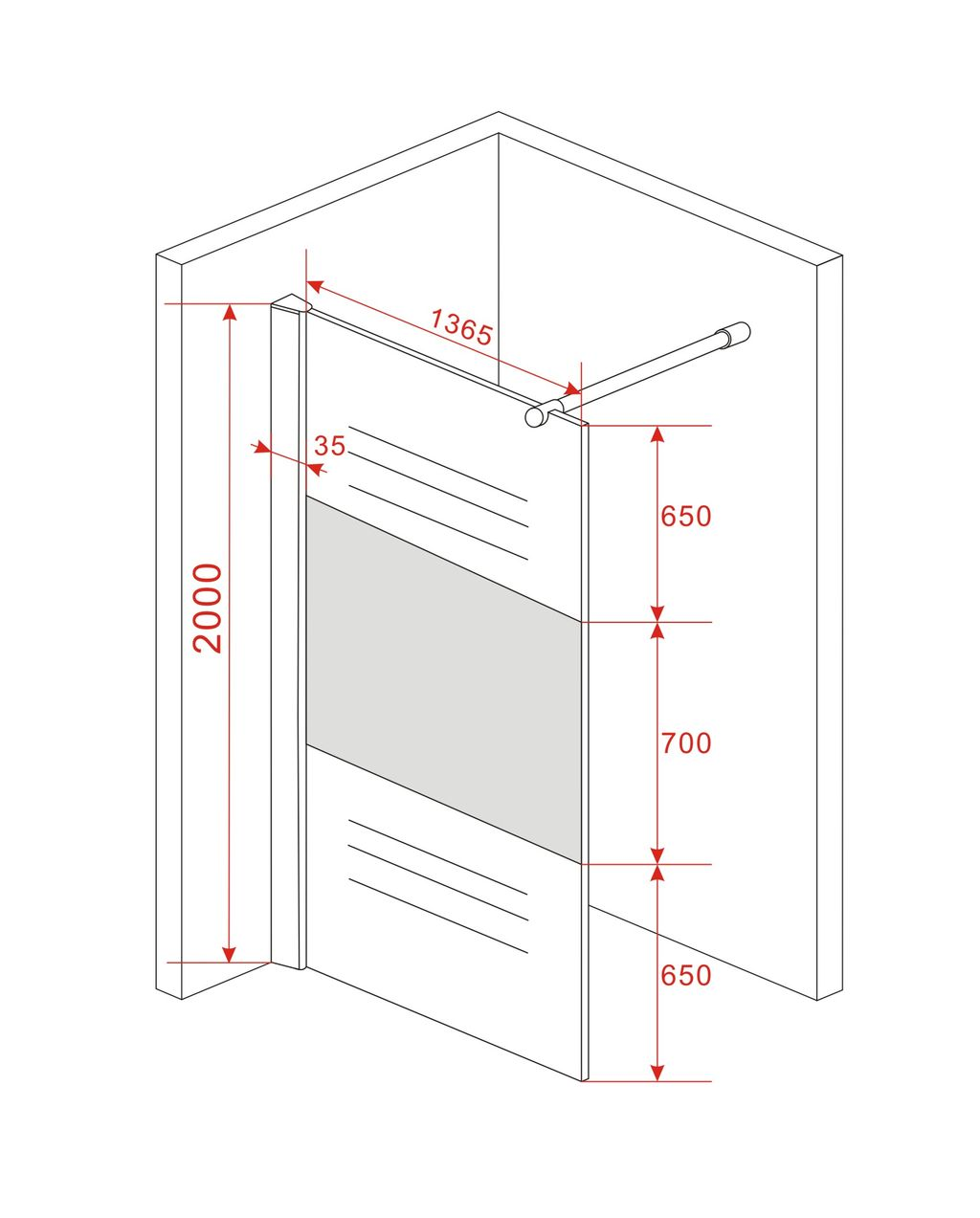 Duschwand-ENTRY-PF-Duschkabine-Duschabtrennung-Dusche-Milchglas-Duschtrennwand