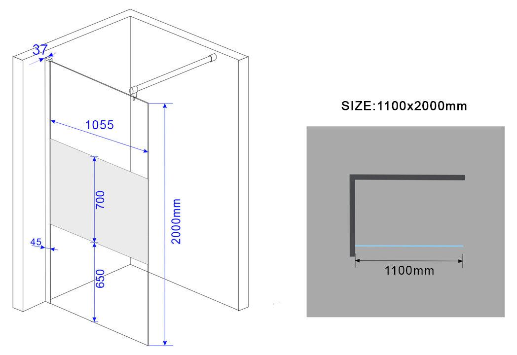 10mm-Duschwand-FREE-PF-Frost-Glas-Duschabtrennung-Dusche-Duschtrennwand