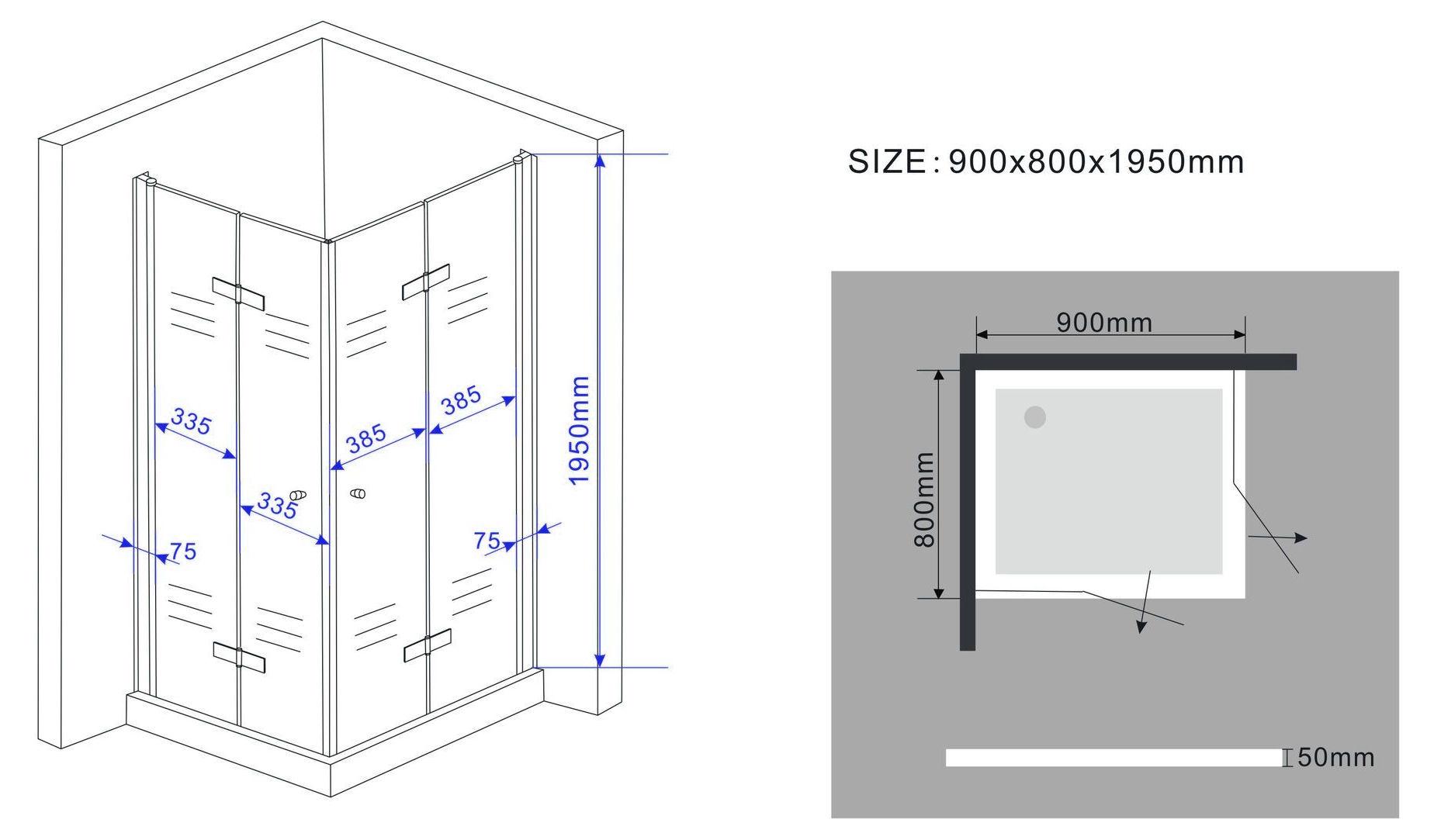 SPACE-Faltbare-Glas-Duschkabine-Eckeinstieg-Dusche-Duschwand-Duschabtrennung