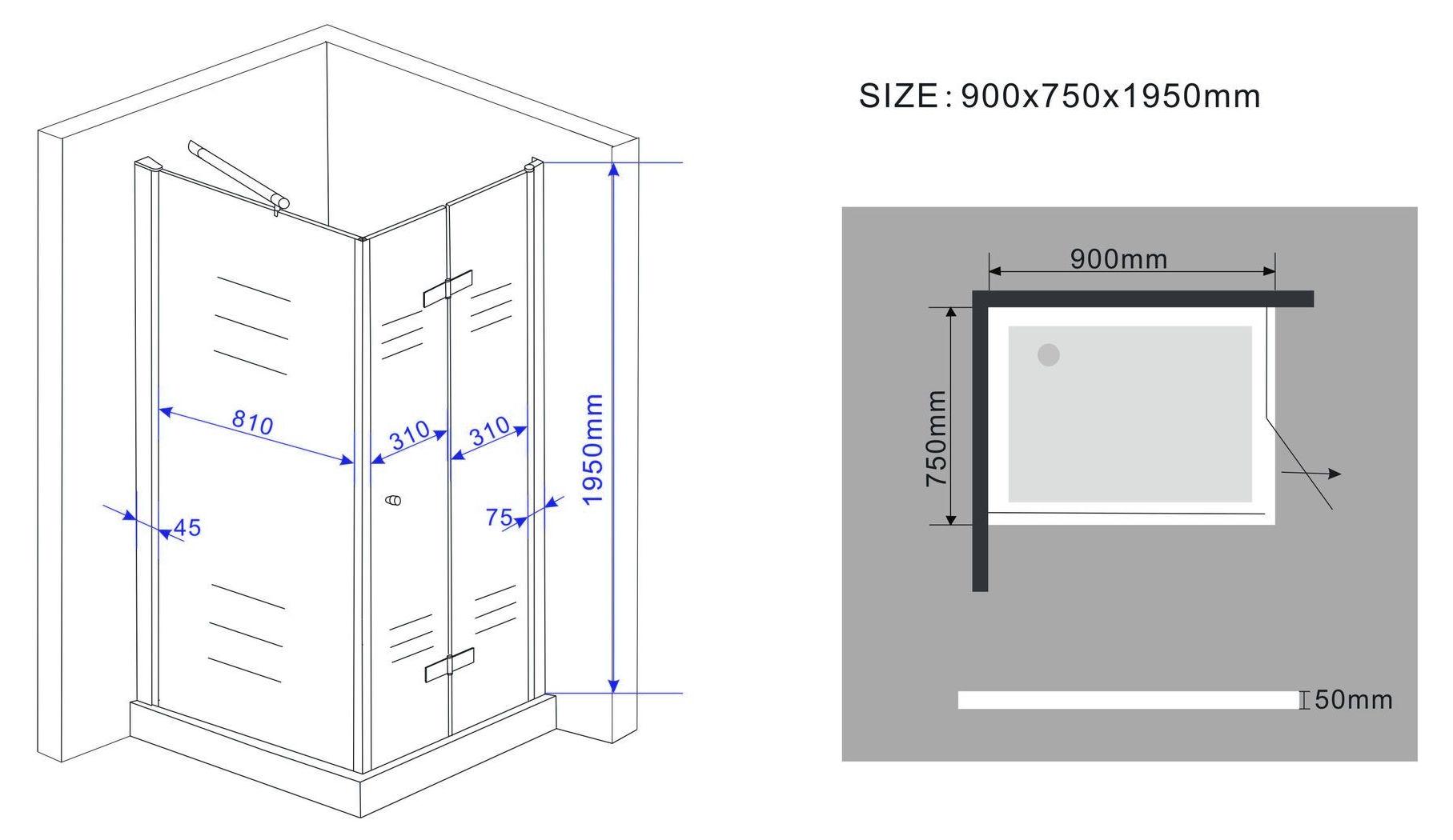 Unterschiedlich Falttür Duschkabine SPACE-ONE 90 x 75 x 195 cm ohne Duschtasse WT68