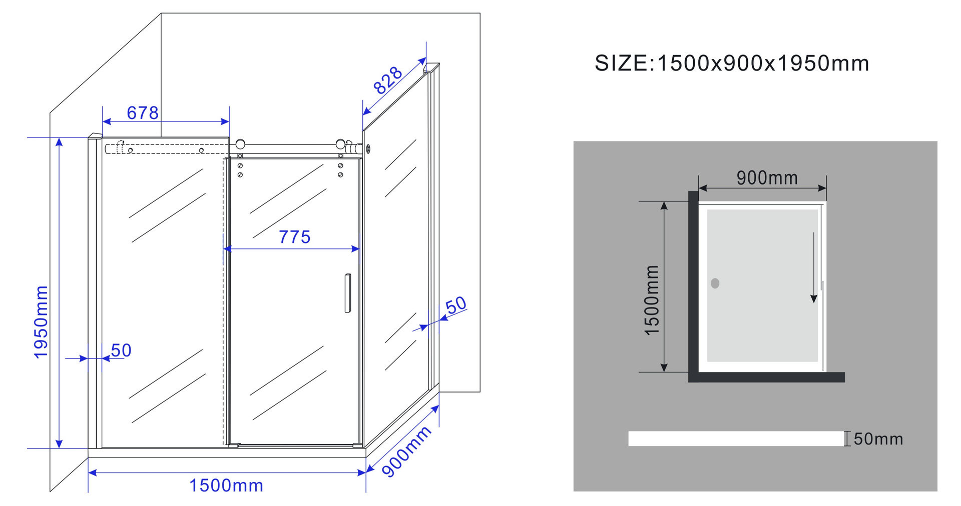 duschkabine supero 150 x 90 x 200 cm inkl duschtasse. Black Bedroom Furniture Sets. Home Design Ideas