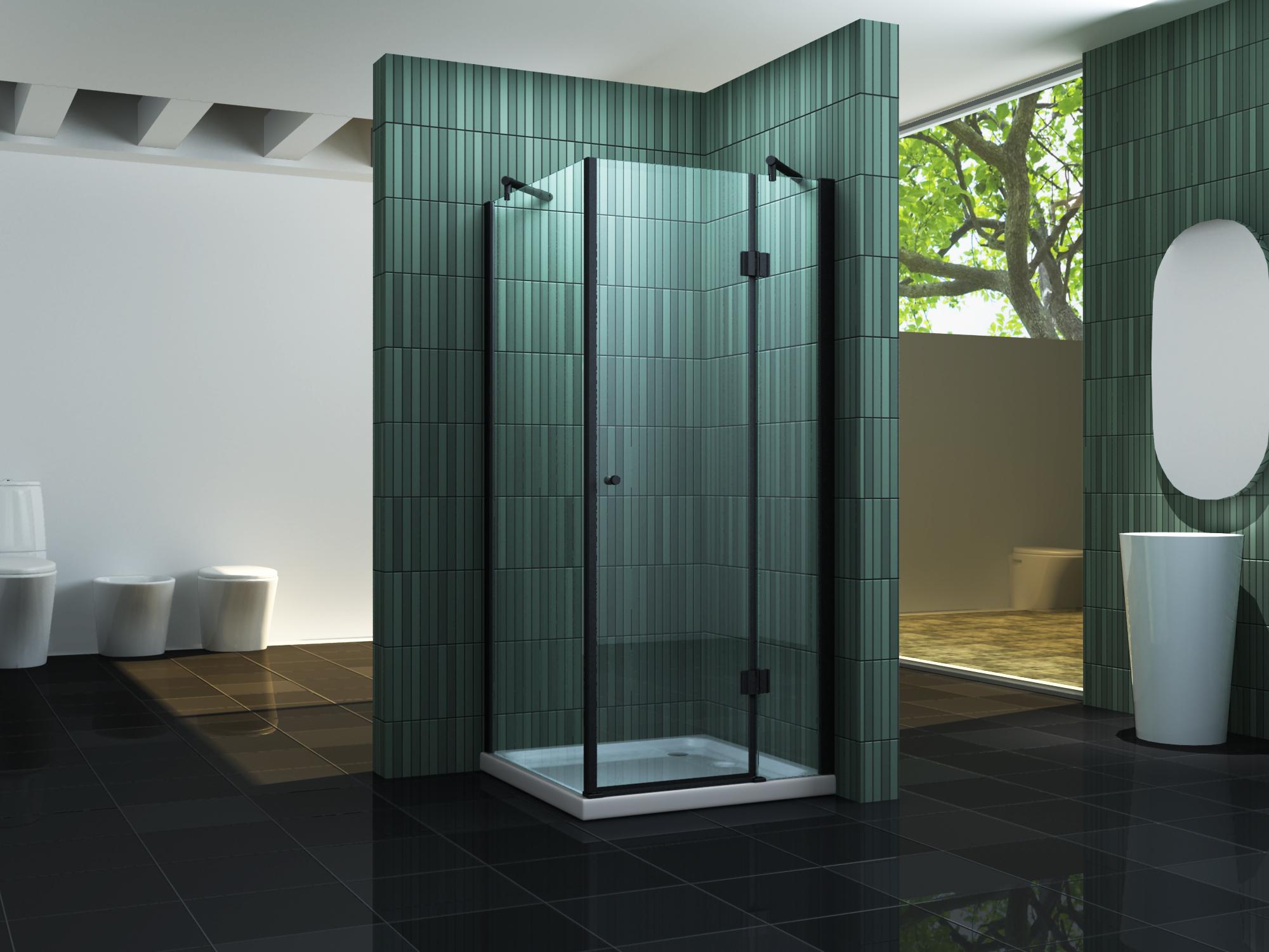 Duschkabine SILL (schwarz) 100 x 100 x 200 cm inkl. Duschtasse