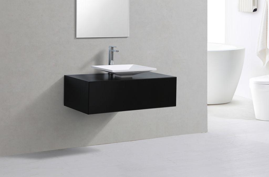 Badmöbel Unterschrank STELLAR 100 in schwarz inkl. Waschtisch