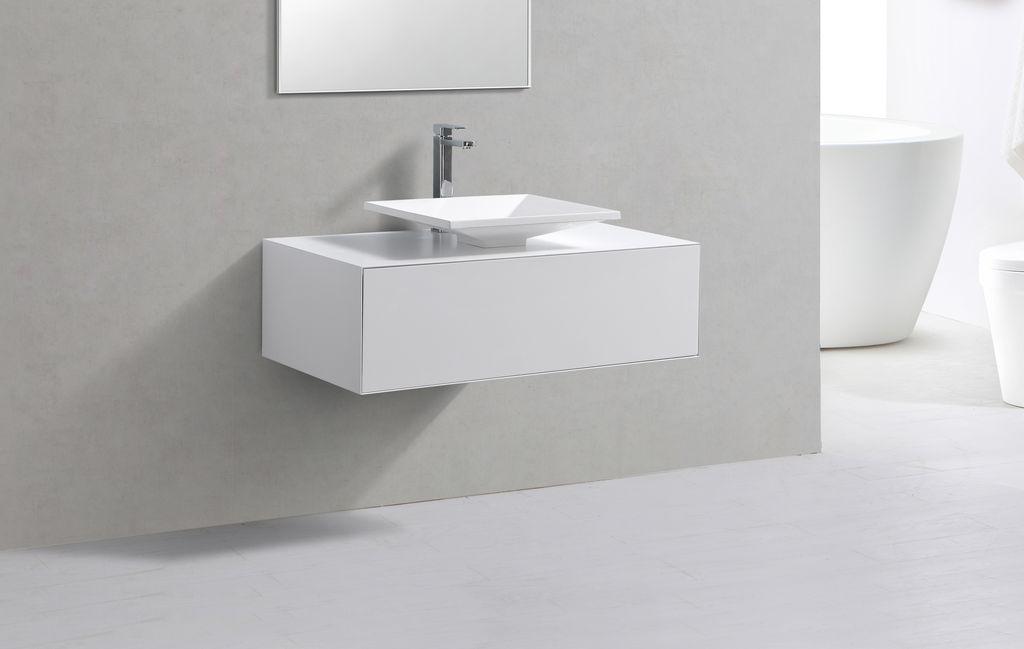 Badmöbel Unterschrank STELLAR 100 in weiß inkl. Waschtisch