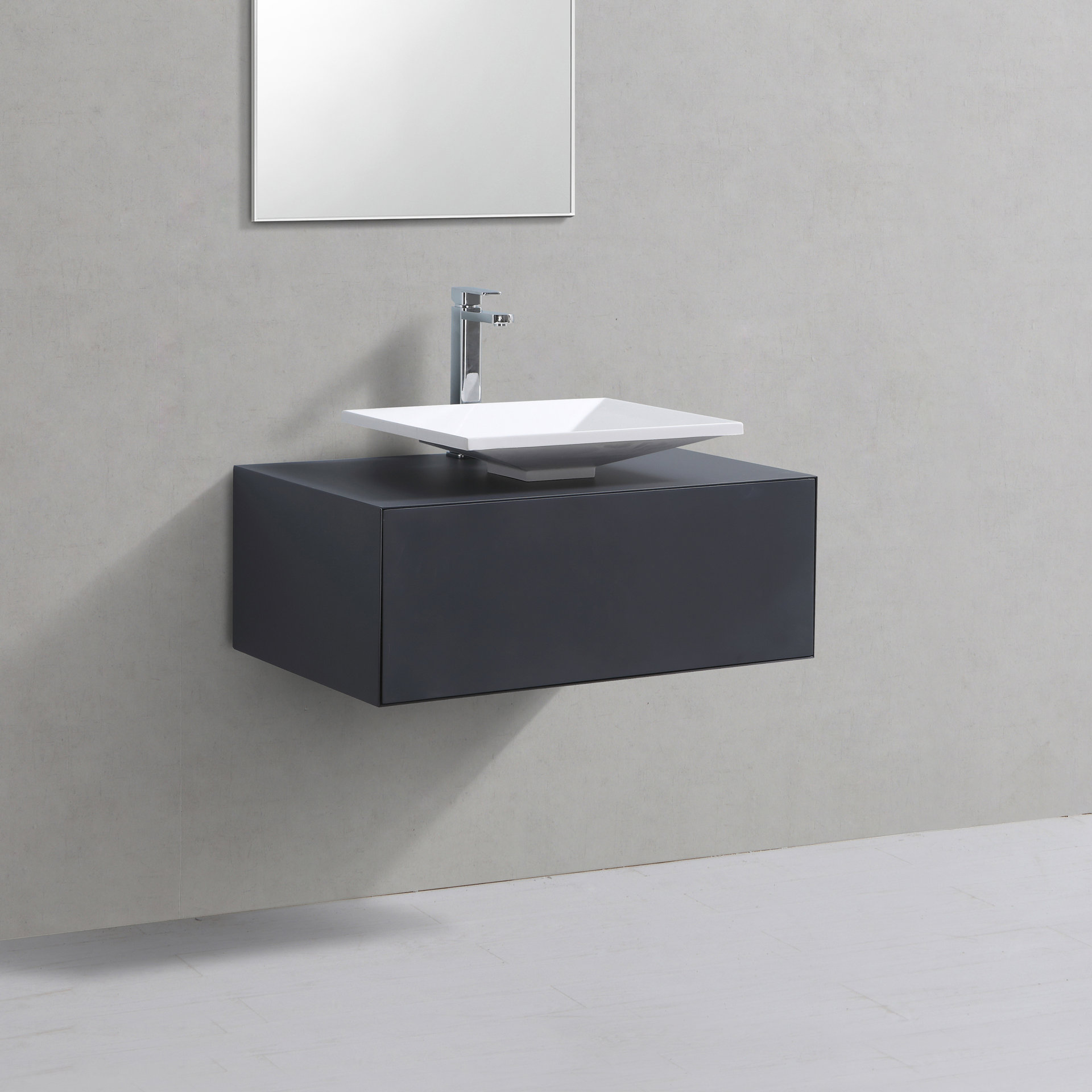 Badmöbel Unterschrank STELLAR 80 in grau inkl. Waschtisch