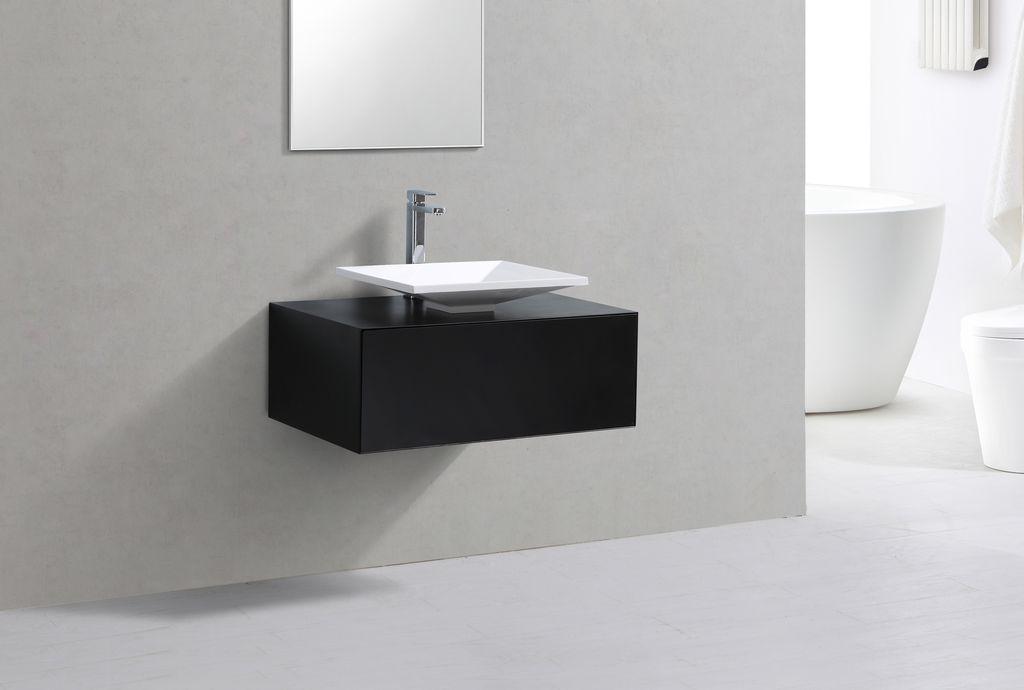 Badmöbel Unterschrank STELLAR 80 in schwarz inkl. Waschtisch