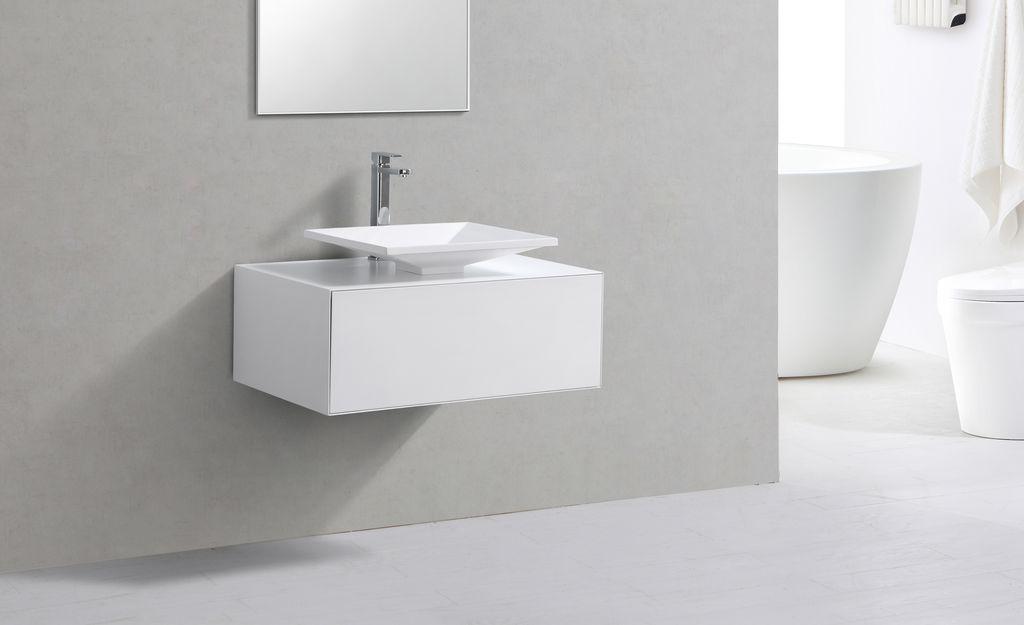 Badmöbel Unterschrank STELLAR 80 in weiß inkl. Waschtisch