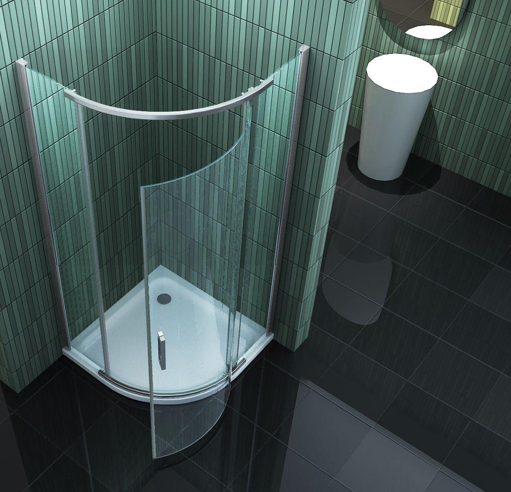 Duschkabine SWALL 80 x 80 x 195 cm (Viertelkreis) ohne Duschtasse