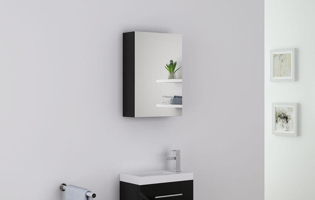 Badmöbel Spiegelschrank VISIT in schwarz