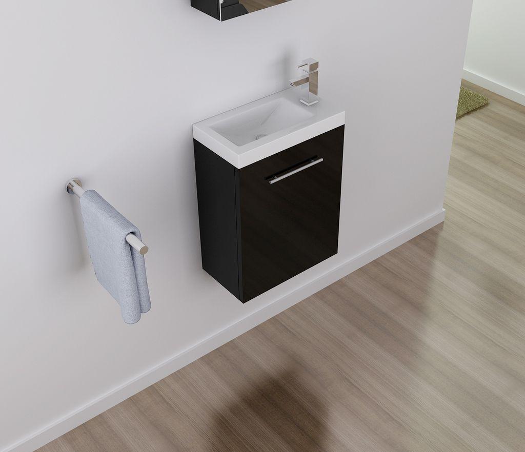 Badmöbel Unterschrank VISIT 45 in schwarz inkl. Waschtisch