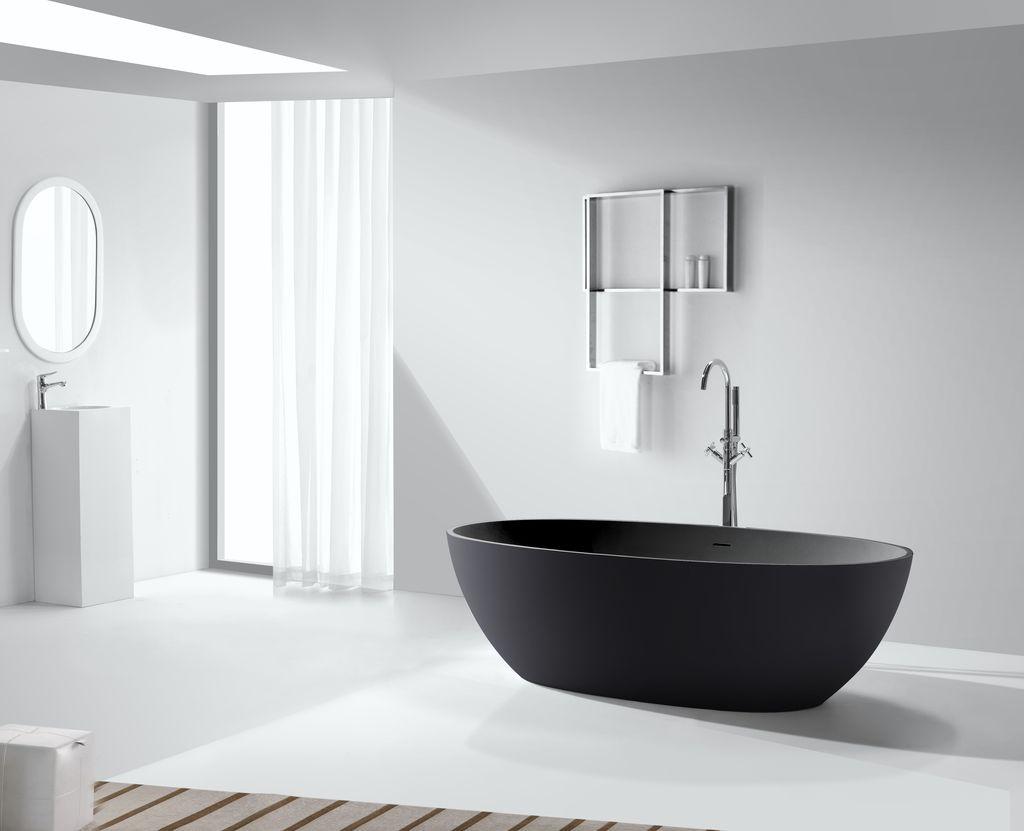 Mineralguss-Badewanne BW-schwarz (freistehend)