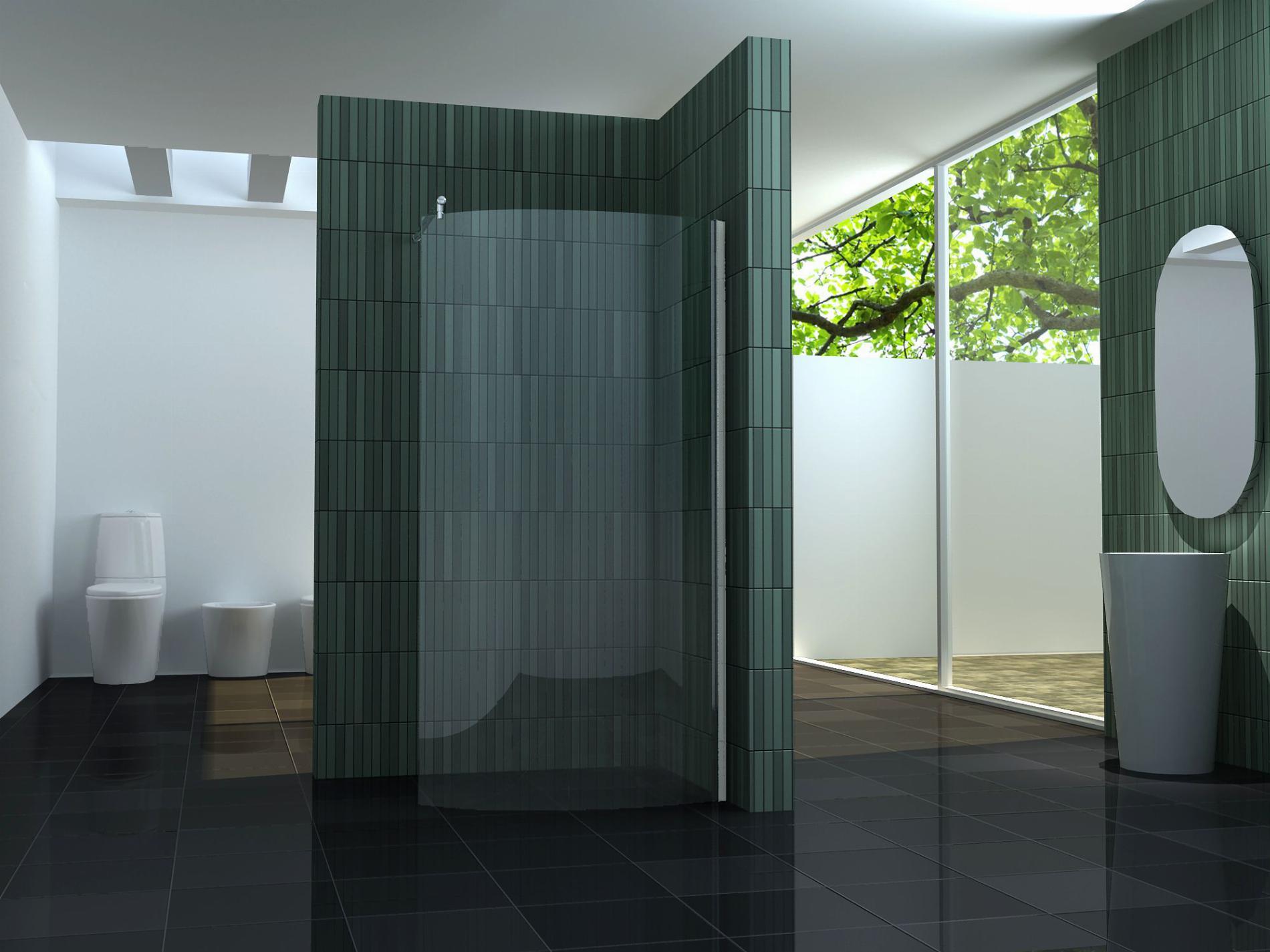 gebogene 8 mm Duschtrennwand FREE-SWING 120 x 200 cm