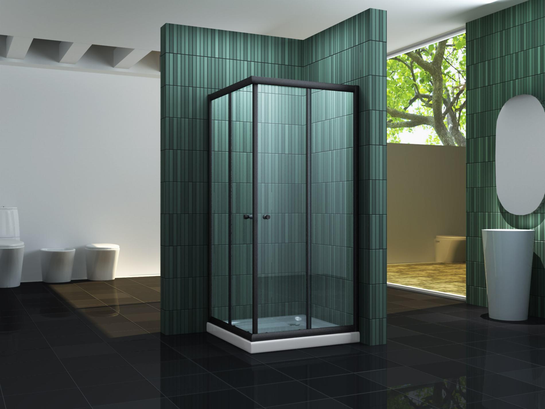 Duschkabine JUNISO-Q (schwarz) 80 x 80 x 195 cm inkl. Duschtasse