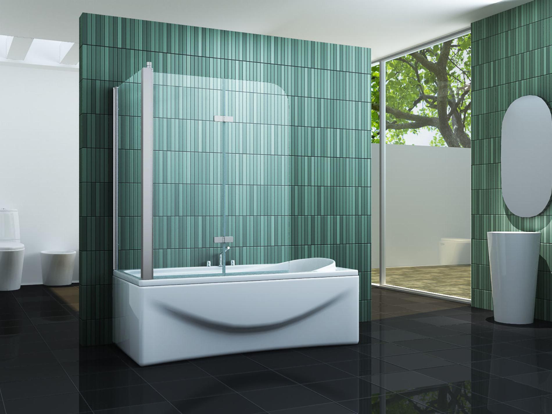 Eck-Duschtrennwand PERINTO (Badewanne)