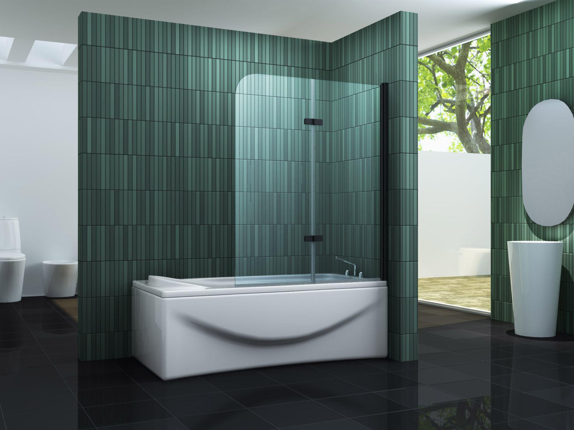Duschtrennwand TWO - schwarz (Badewanne)